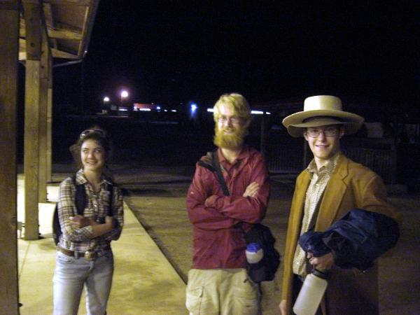 'Tobasco Donkey' Tim Collver (Center) was working as one of the 2009  'Roving Prospectors' .Brian Fischer one of the characters from the Opening Campfire (still in costume) introduced me to Tim. The pretty girl is Karin Hyatt who worked as a cook at Ponil.