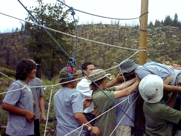 Threading the 'Spider Web' at Dan Beard Camp.