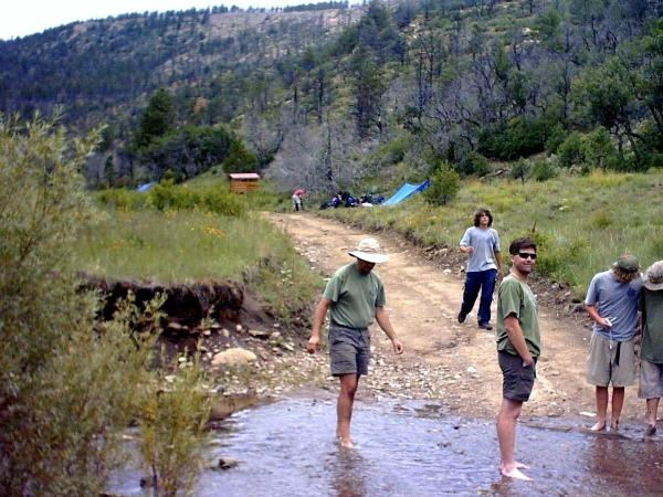 Cooling our feet at Rich Cabin creek. Some like getting a little mud.